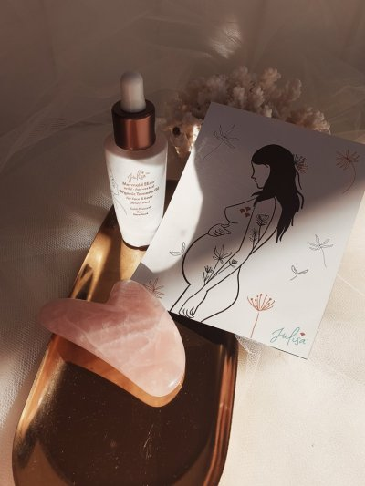 MerMum-To-Be Pregnancy Gift Set: Mermaid Elixir Skin Oil, Rose Quartz Gua Sha + Artwork Magne
