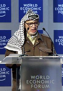 Jassir Arafat 2001 beim WorldEconomicForum in Davos