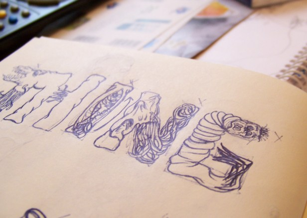 "Estudio preliminar para ""THE THING LETTERING"" / THE THING LETTERING study"