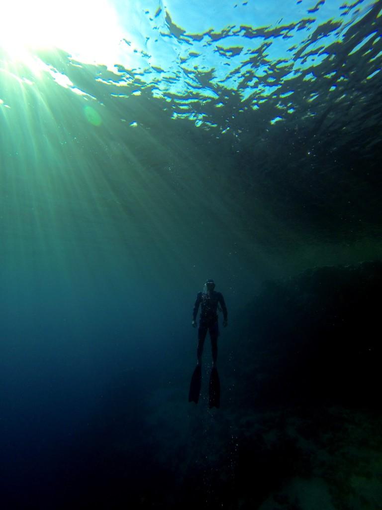 Markus ascending at the Blue Hole