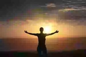 Male, sun, freedom, peace