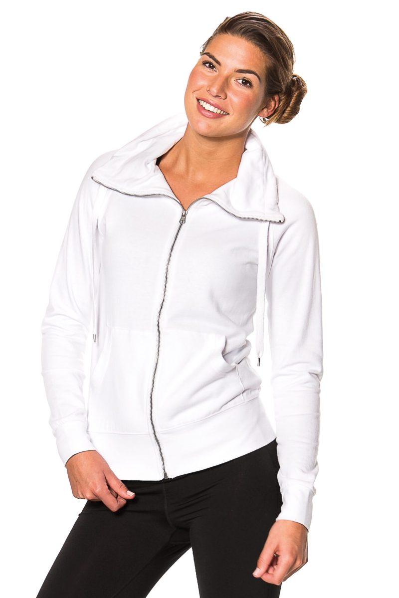 Hvid lady-zip-sweat set forfra