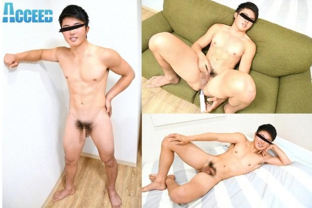 Acceed – OCON058 – ガチムチ青年タケル初撮影でアナルにバイブ挿れたまま濃厚ザーメン発射!!