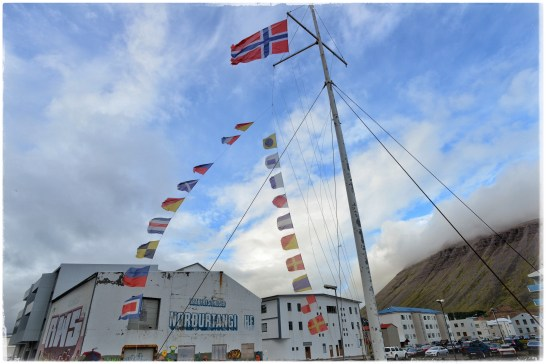 Isafjördur harbor... Maybe the Norwegian flag is for the Norwegian cruise ship at dock?