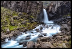Roadside waterfall on the Berufjarðara River