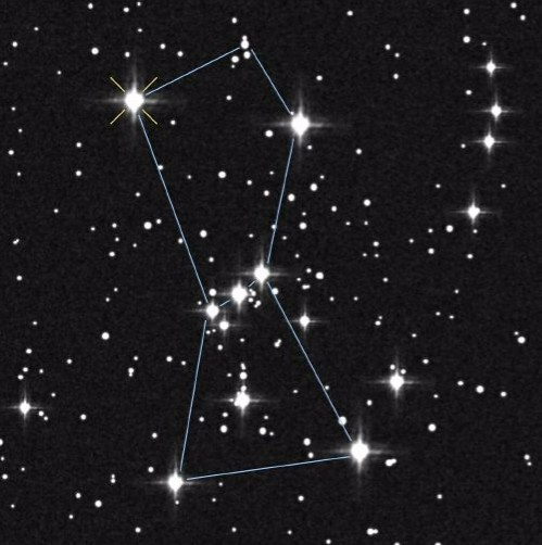 The constellation Orion, named after the hunter from Greek mythology. The three stars in the centre are known as Orion's belt. (Image: NASA).