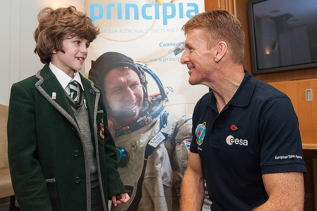 Major Tim Peake and a young fan