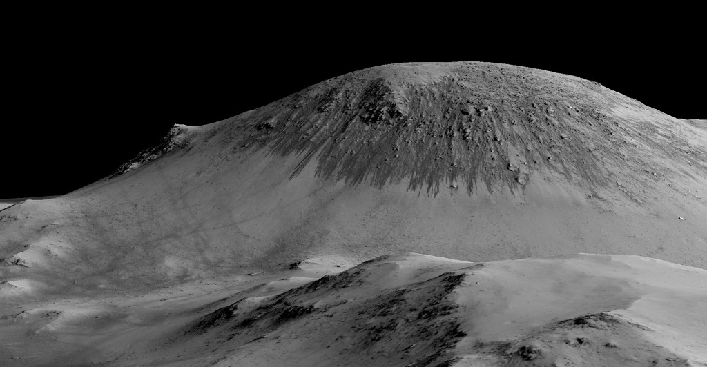 More RSL flowing downhill, this time on the Horowitz crater. (Image credit: Mars Reconnaissance orbiter/University of Arizona/JPL/NASA).
