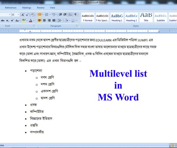 Multilevel list in MS Word