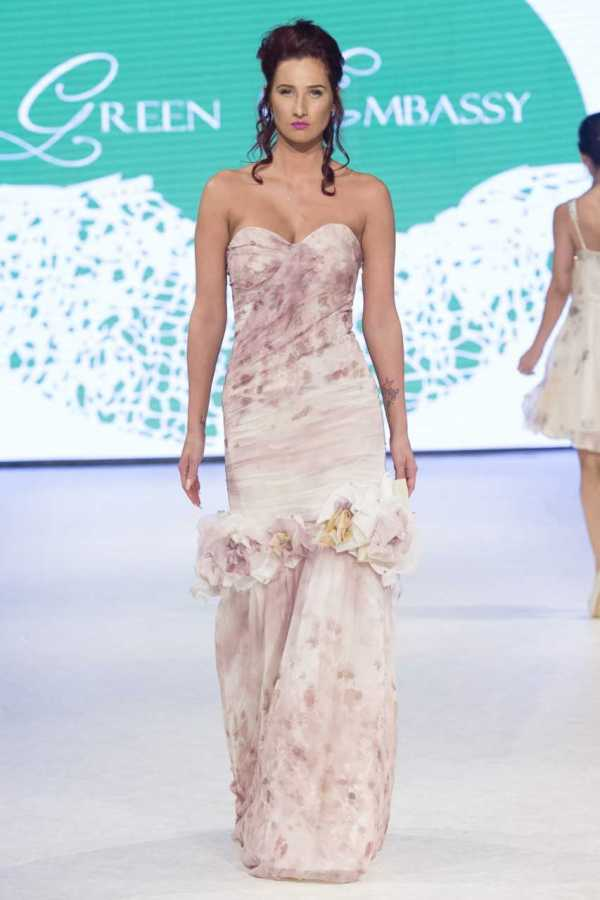 A Green Embassy evening dress on the Eco Fashion Week  catwalk in 2017