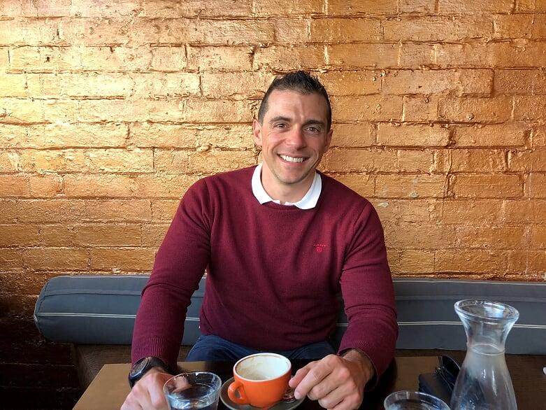 Neil Pharaoh enjoys a coffee at a Windsor café