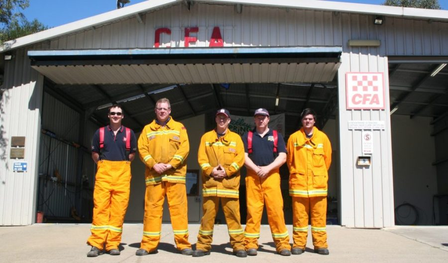 David Ryan, Captain David Clarke, Andrew Butler, Anthony Hudson and Nathan Campbell of the Seville CFA. Photo by Dylan J Bruce