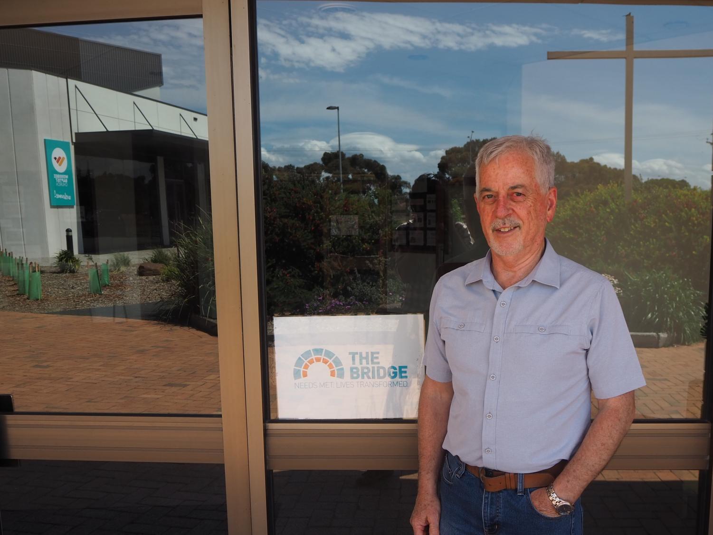 Graham Rogers outside the community service program, 'The Bridge.'