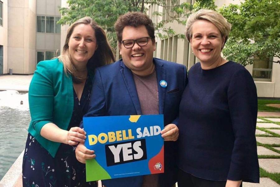 Joshua Maxwell with federal Labor MPs Emma McBride and Tanya Plibersek