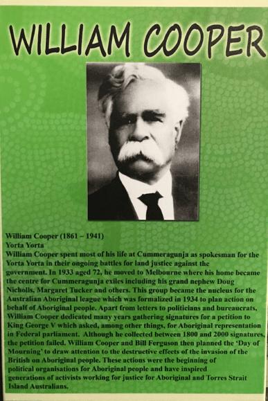 A plaque at the Aborigines Advancement League recognizing William Cooper as a founder. Photo: Aisling O'Mahony, Kate Pantelidis, Stephanie Arturi