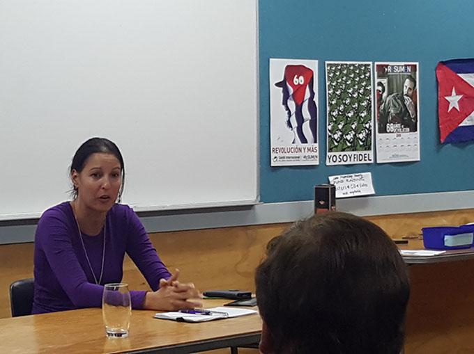 Cuba's Leima Freire speaking in Auckland on behalf of ICAP ... programmes
