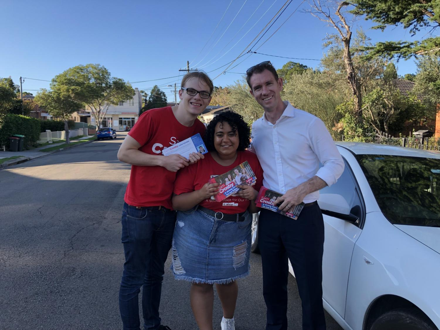 Labor's Sam Crosby, doorknocking in the Sydney seat of Reid.