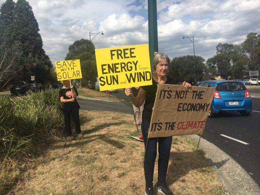 Climate change protestors in Deakin