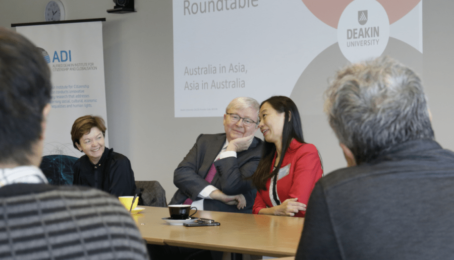Former PM Kevin Rudd and Labor's Chisholm candidate Jennifer Yang at the Alfred Deakin Institute's round-table discussion. Photo: Supplied by Giles Campbell-Wright