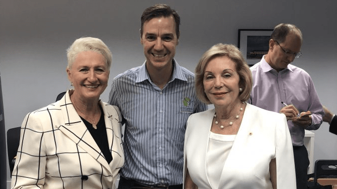 On the hustings. Dr Kerryn Phelps with Australian icon Ita Buttrose and a local supporter.