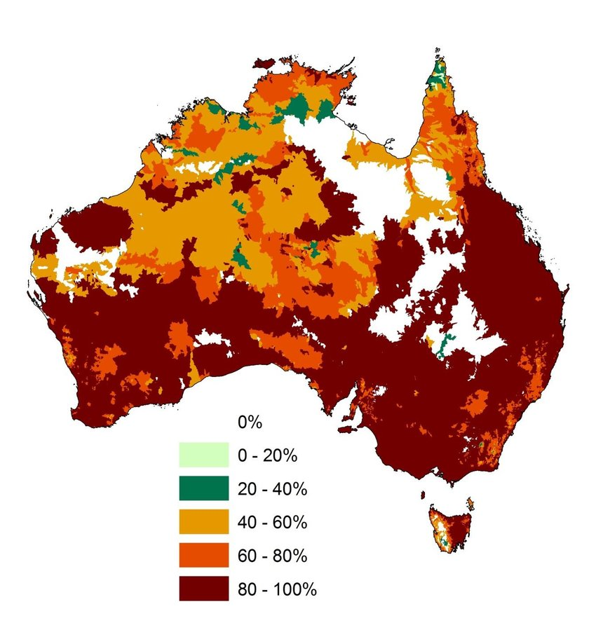 Map showing percentage of threatened freshwater and terrestrial species in areas affected by habitat loss in 2011.