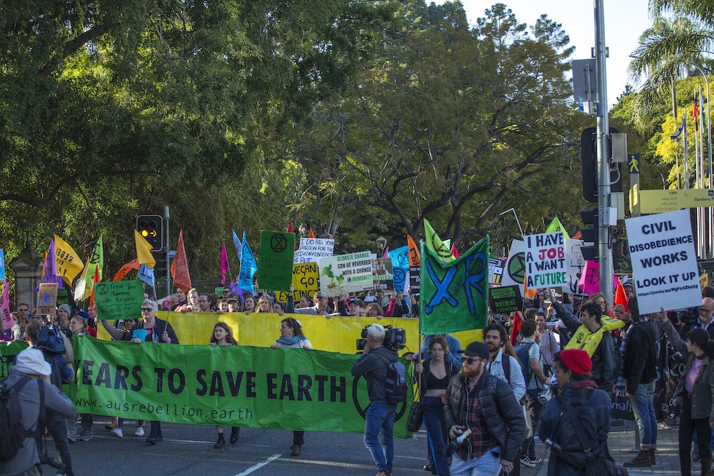 Extinction Rebellion protesters outside Queensland Parliament House.