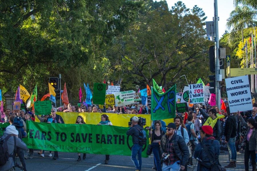 Extinction+Rebellion+protesters+outside+Queensland+Parliament+House.