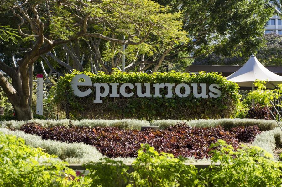 The Epicurious Garden sign at Brisbanes South Bank Parklands