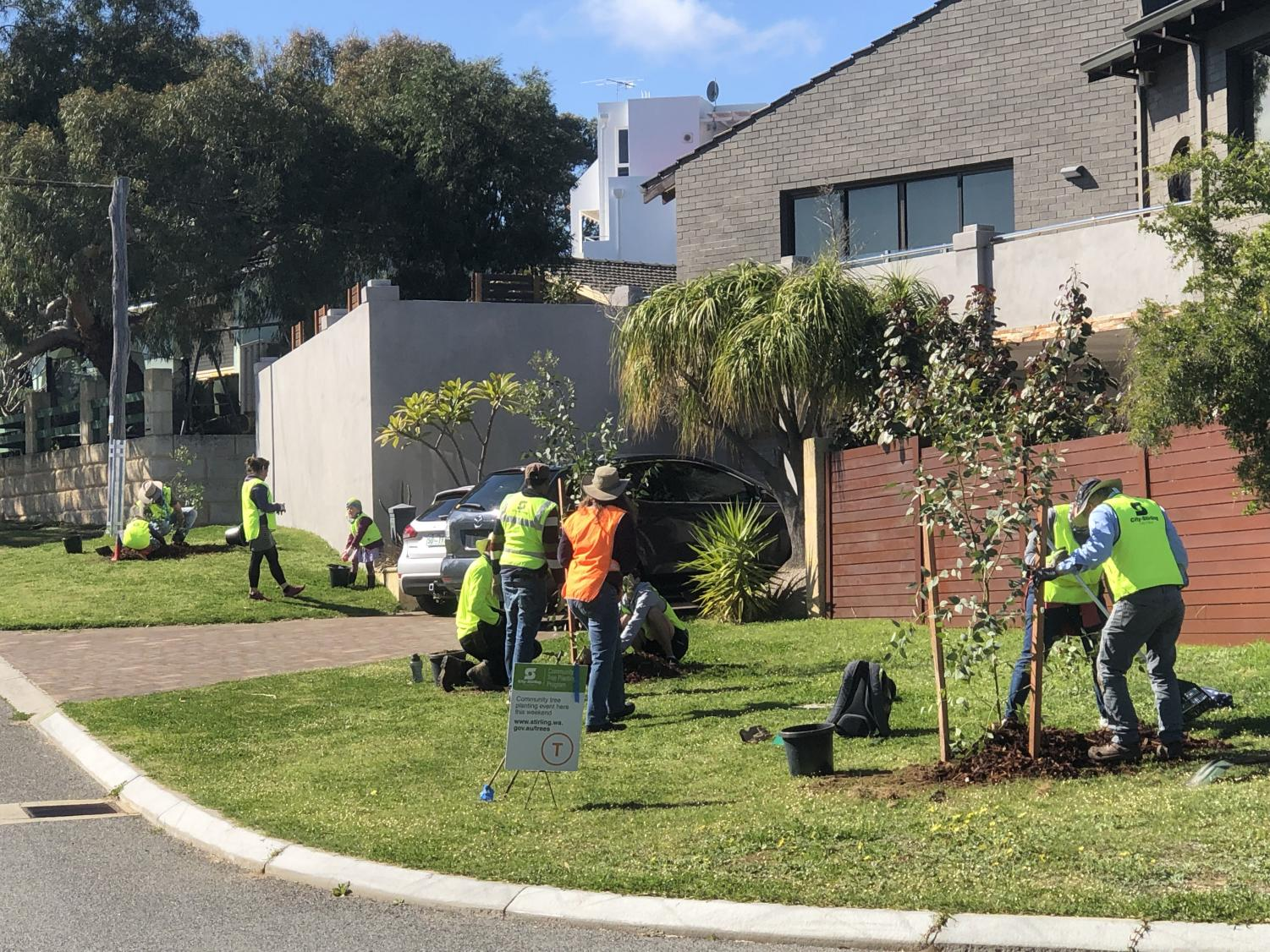 City of Stirling residents plant trees to increase local canopy coverage.