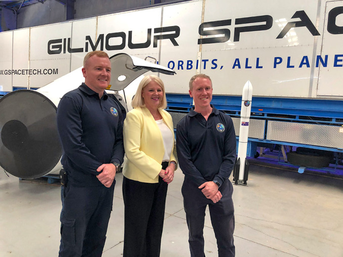 James Gilmour, federal science minister Karen Andrews and Adam Gilmore hope the space funding will help put man back on the moon.Photo: Courtesy Karen Andrews