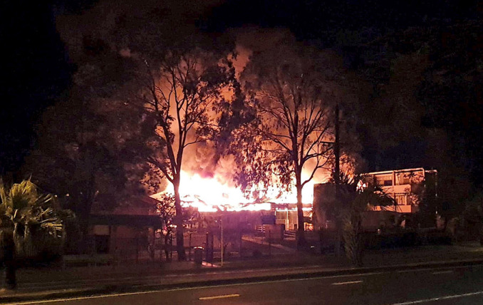 Locals woke to find Southport State High School on fire in the early hours of Friday morning.Photo: Monica Adair
