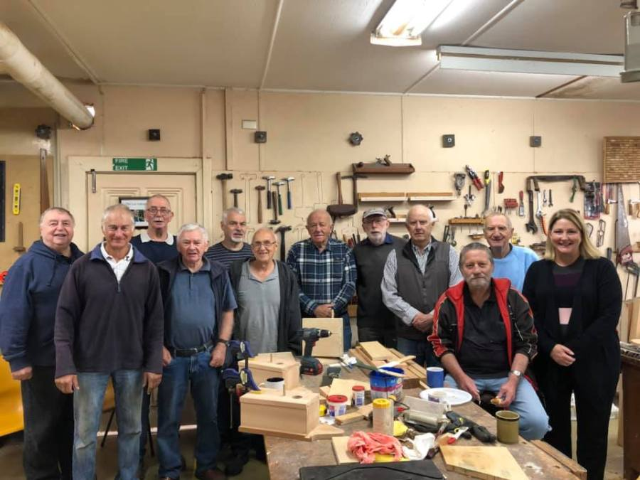 The Aldgate Men's Shed Group members with visiting MP Rebekah Sharkie.