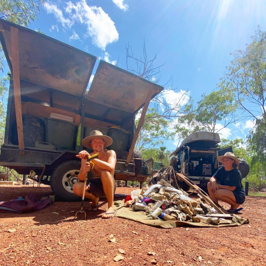 Boe Langford and partner Kimberly travel around Australia removing rubbish as part of Outback Clean-ups Australia (OCA).