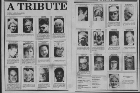 Double page spread of tribute to victims.