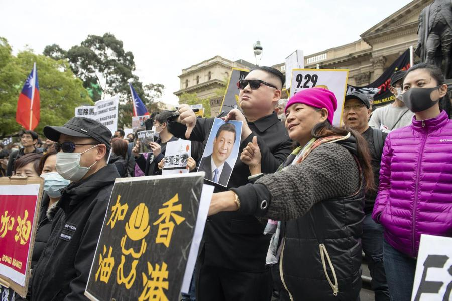 A Hong Kong pro-democracy demonstration in Melbourne September 29, 2019. (AAP Image/Ellen Smith: With permission)
