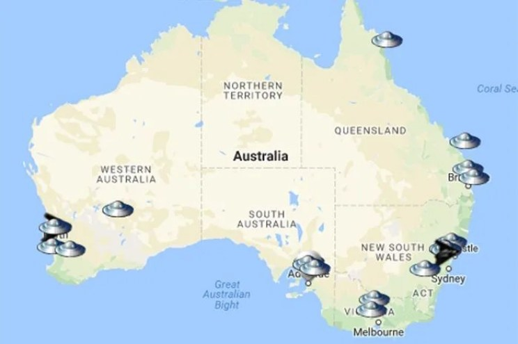 Map of UFO Sightings and alleged abductions. Photo: Mutual Unidentified Flying Objects Network