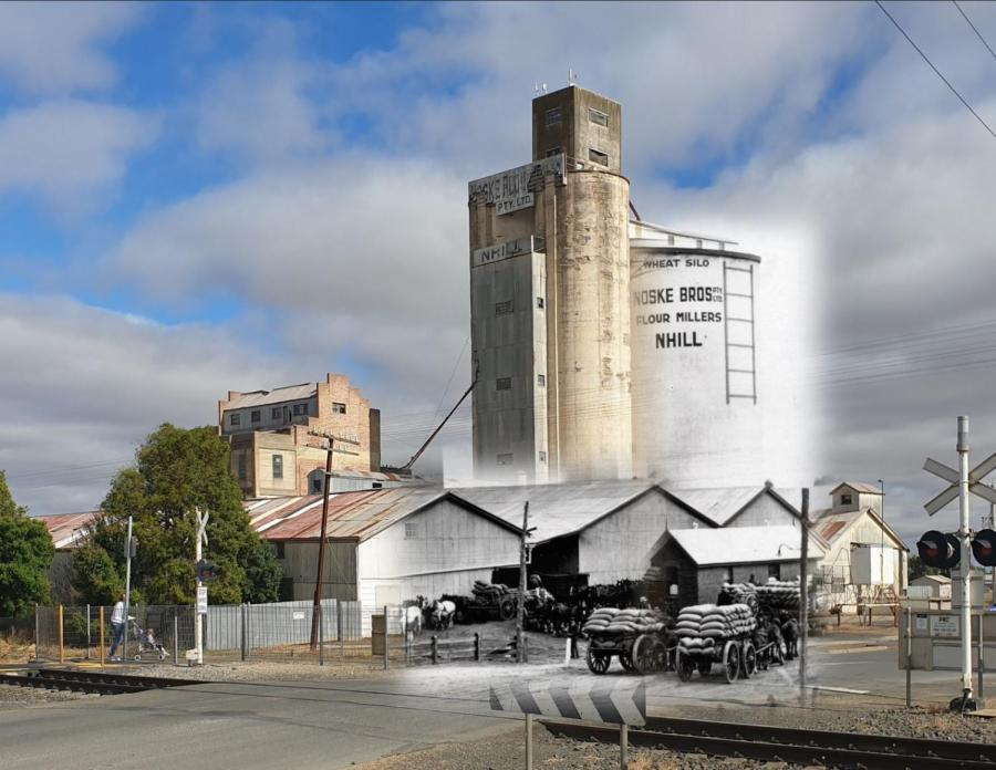 old image of nhill silo overlayed on modern day image