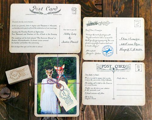 Vintage Postcard Wedding Invitations From Royal Steamline