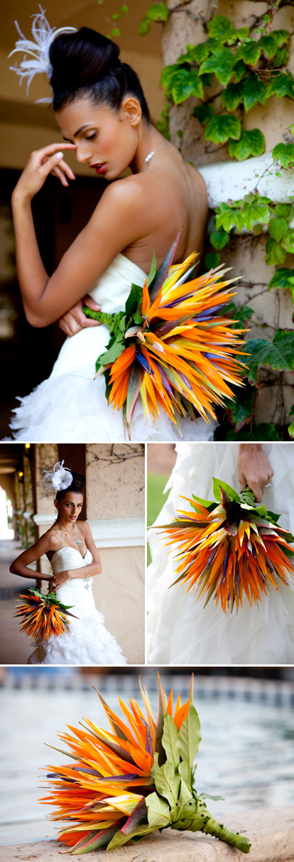 Birds of paradise wedding bouquet, tropical orange, yellow, green and purple wedding color palette, image by La Vie Photography