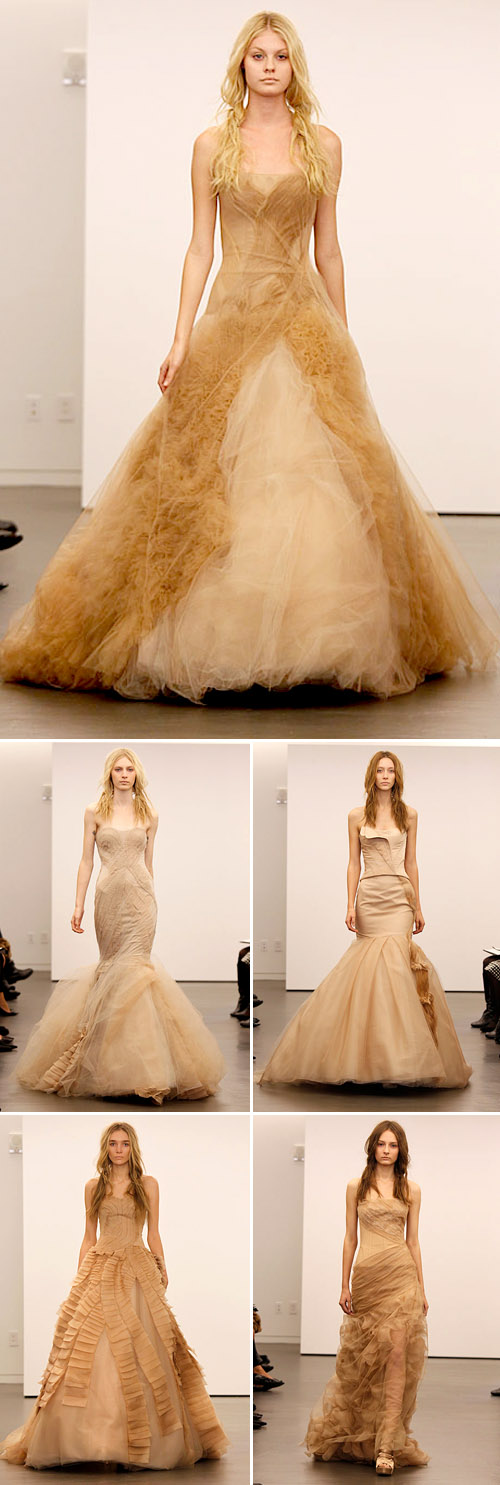 Vera Wang fall 2012 nude and black wedding dresses, photos via  Brides.com