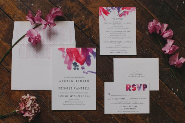Boho Chic Wedding Invitation Suite In Jewel Toneodern Calligraphy