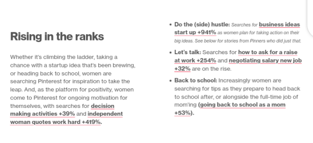 Pinterest top search trends by women