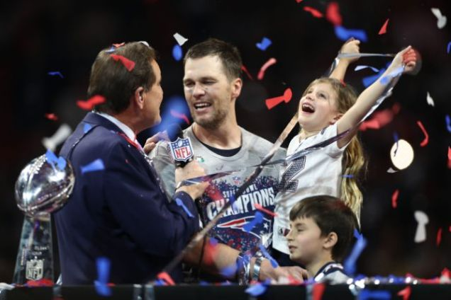 2019 2 3 New England Patriots win their 6th Superbowl in 18 years. They celebrate it with family. 9