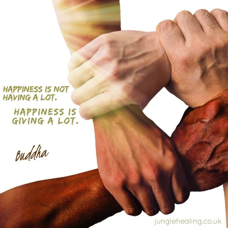 Affirmation of the week. Four hands held together in a visual representation of solidarity accompanied by a quote from buddha. Happiness is not having a lot. Happiness is giving a lot.