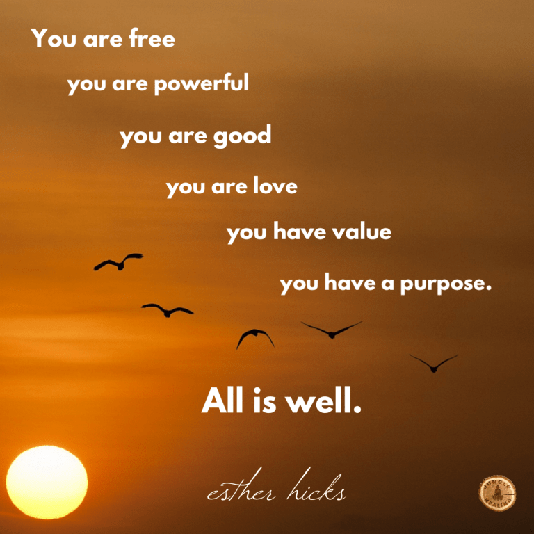Affirmation of the week: 'You are free, you are powerful, you are good, you are love, you have value, you have purpose. All is well.' by Esther Hicks, set against a background of an orange sunset sky with birds in the distance.