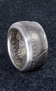 1921 90% Silver Morgan Dollar Double Sided Coin Ring Sizes 10-22 Half Unique Gift Men's Large 3D Coin Ring Wedding Band 12mm Wide | Jungleland Vintage