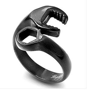 Men's Jet Black Stainless Steel Gear-Head Racing Mechanic Wrench Tool Ring | Jungleland Vintage