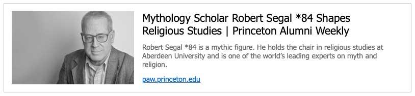 Mythology Scholar Robert Segal *84 Shapes Religious Studies   Princeton Alumni Weekly