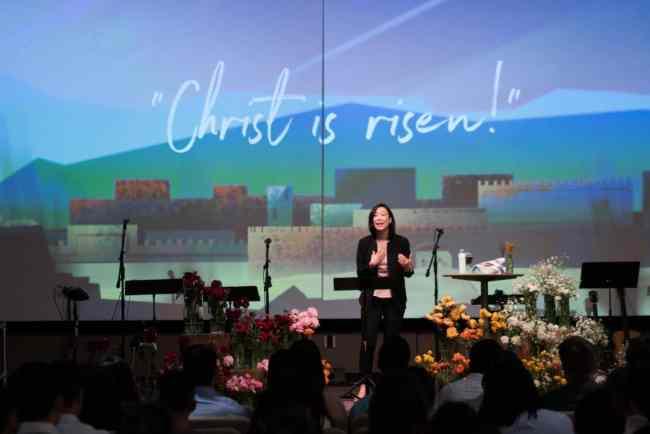 Women in Leadership Janette preaching on Easter Sunday