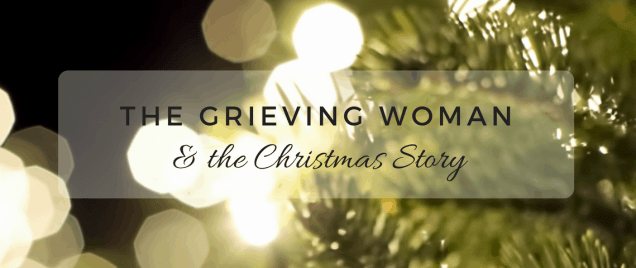 grieving woman title with tree lights